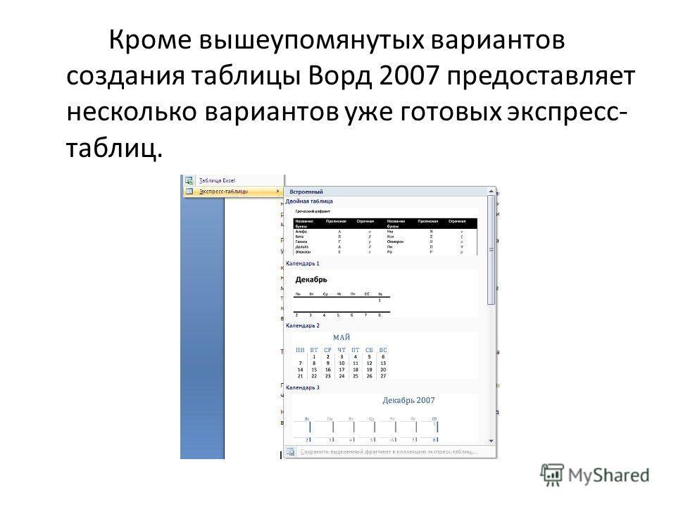 Кроме вышеупомянутых вариантов создания таблицы Ворд 2007 предоставляет несколько вариантов уже готовых экспресс- таблиц.