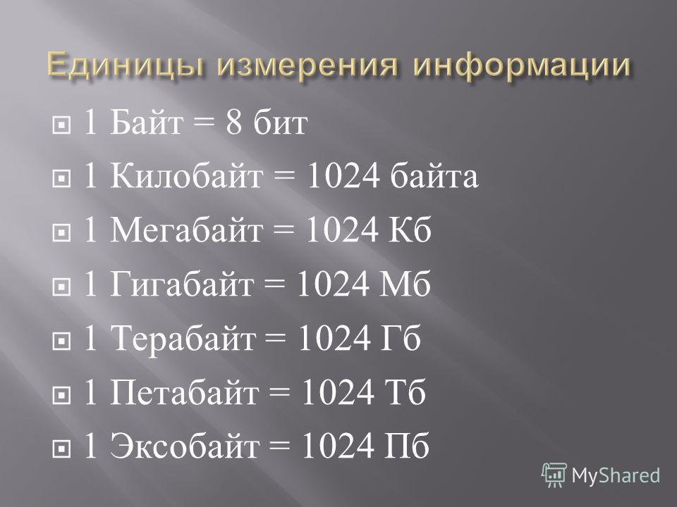1 Байт = 8 бит 1 Килобайт = 1024 байта 1 Мегабайт = 1024 Кб 1 Гигабайт = 1024 Мб 1 Терабайт = 1024 Гб 1 Петабайт = 1024 Тб 1 Эксобайт = 1024 Пб
