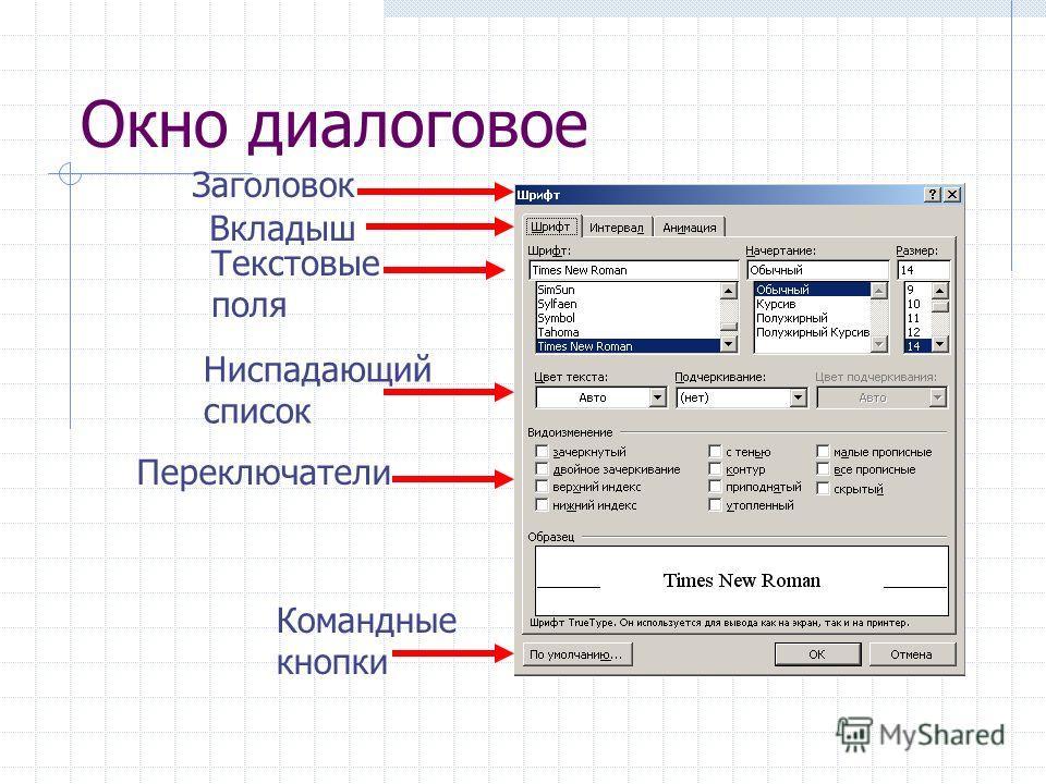 Окно диалоговое Заголовок Вкладыш Ниспадающий список Переключатели Текстовые поля Командные кнопки