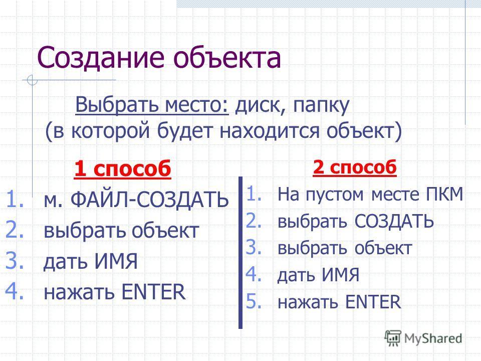 Создание объекта 1 способ 1. м. ФАЙЛ-СОЗДАТЬ 2. выбрать объект 3. дать ИМЯ 4. нажать ENTER Выбрать место: диск, папку (в которой будет находится объект) 2 способ 1. На пустом месте ПКМ 2. выбрать СОЗДАТЬ 3. выбрать объект 4. дать ИМЯ 5. нажать ENTER