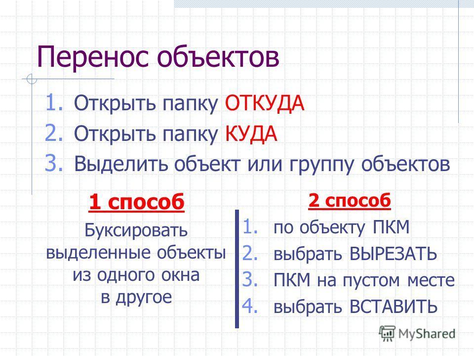 Перенос объектов 1 способ Буксировать выделенные объекты из одного окна в другое 1. Открыть папку ОТКУДА 2. Открыть папку КУДА 3. Выделить объект или группу объектов 2 способ 1. по объекту ПКМ 2. выбрать ВЫРЕЗАТЬ 3. ПКМ на пустом месте 4. выбрать ВСТ