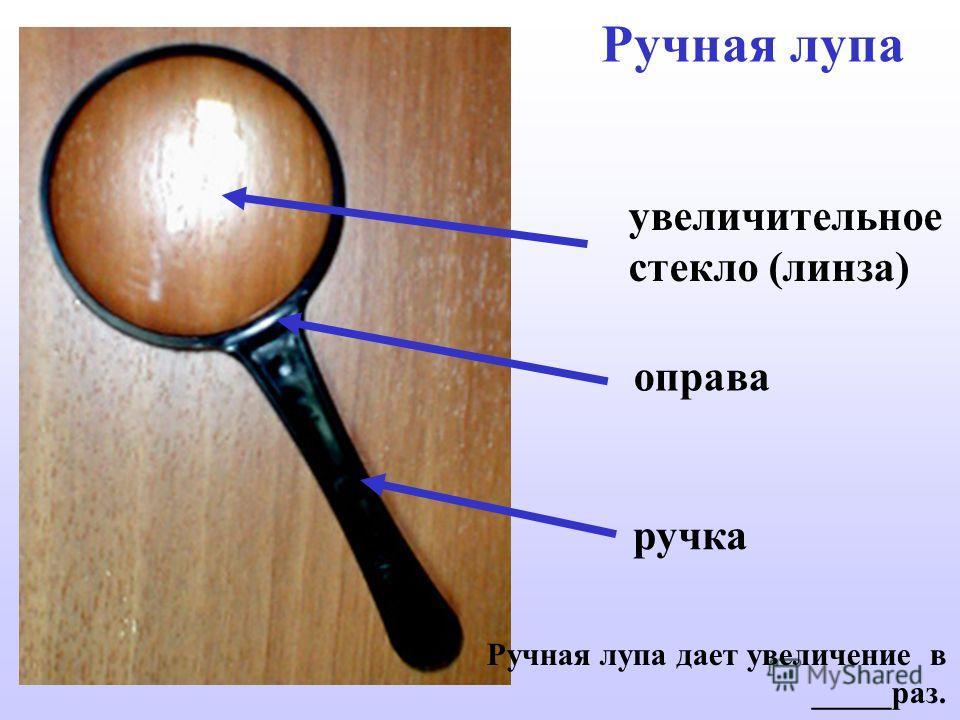 Ручная лупа увеличительное стекло (линза) ручка Ручная лупа дает увеличение в _____раз. оправа