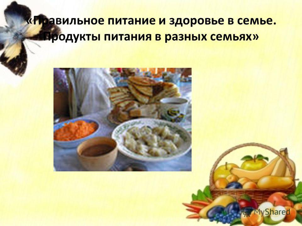 «Правильное питание и здоровье в семье. Продукты питания в разных семьях»
