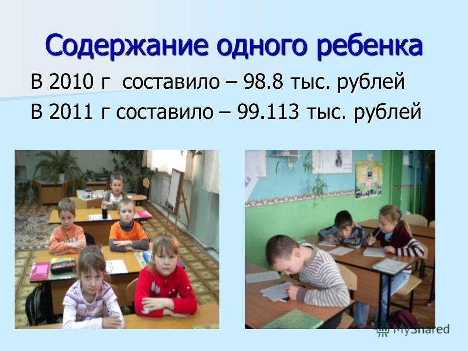 Содержание одного ребенка В 2010 г составило – 98.8 тыс. рублей В 2011 г составило – 99.113 тыс. рублей