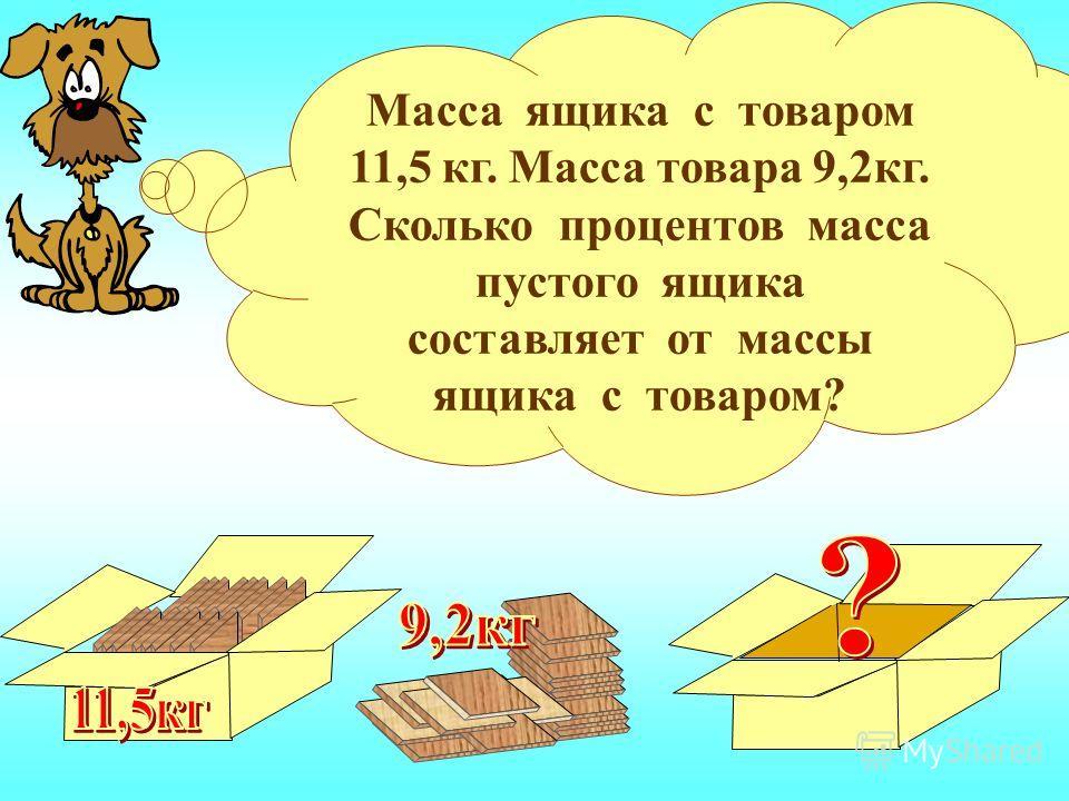 Масса ящика с товаром 11,5 кг. Масса товара 9,2кг. Сколько процентов масса пустого ящика составляет от массы ящика с товаром?