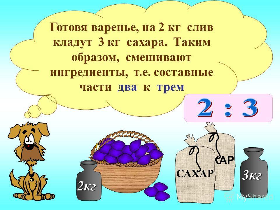 2кг САХАР 3кг Готовя варенье, на 2 кг слив кладут 3 кг сахара. Таким образом, смешивают ингредиенты, т.е. составные части два к трем