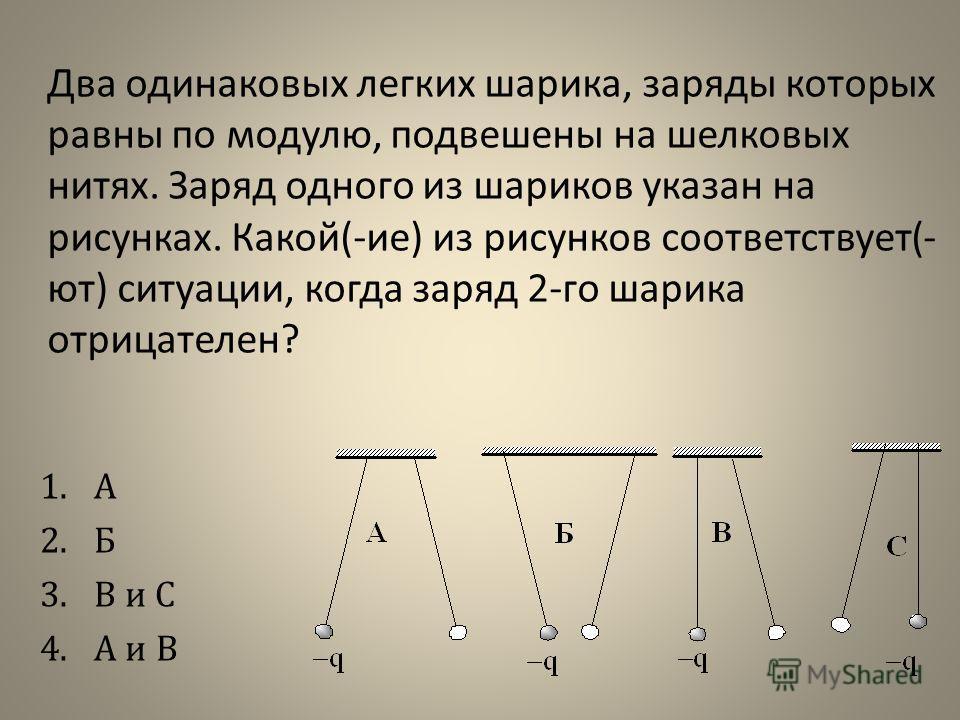 Два одинаковых легких шарика, заряды которых равны по модулю, подвешены на шелковых нитях. Заряд одного из шариков указан на рисунках. Какой(-ие) из рисунков соответствует(- ют) ситуации, когда заряд 2-го шарика отрицателен? 1.А 2.Б 3.В и С 4.А и В