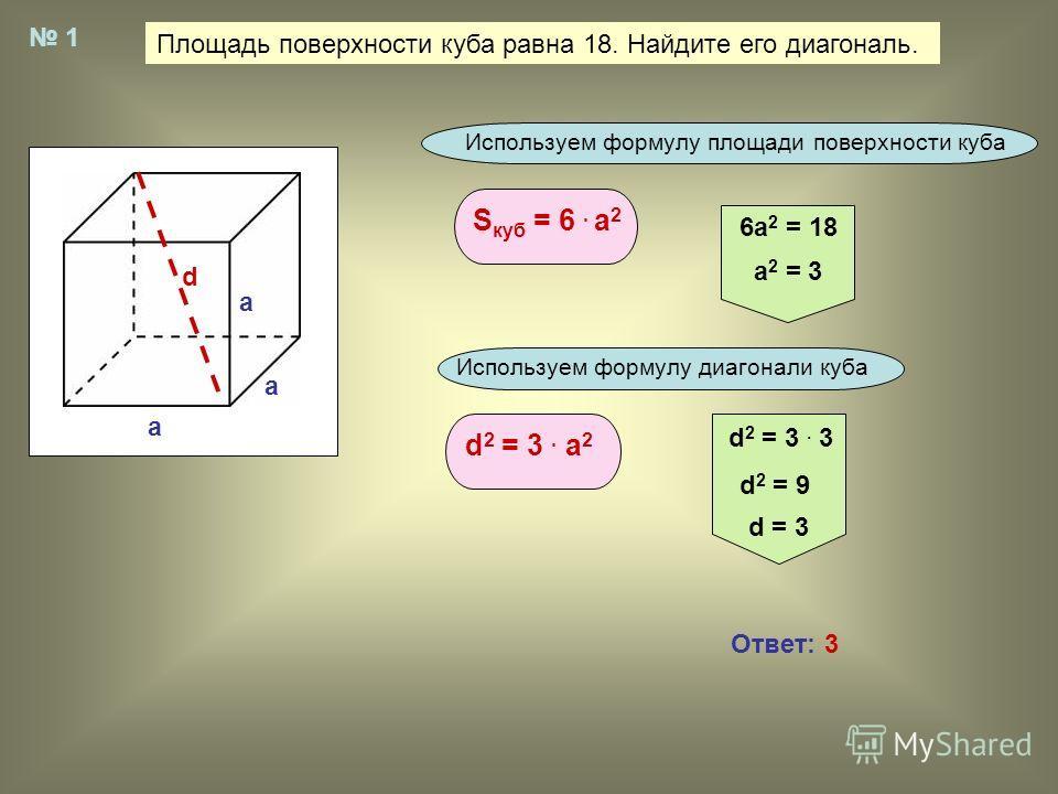 Площадь поверхности куба равна 18. Найдите его диагональ. 1 a a a d Используем формулу площади поверхности куба S куб = 6. а 2 6а 2 = 18 а 2 = 3 Используем формулу диагонали куба d 2 = 3. a 2 d 2 = 3. 3 d 2 = 9 d = 3 Ответ: 3