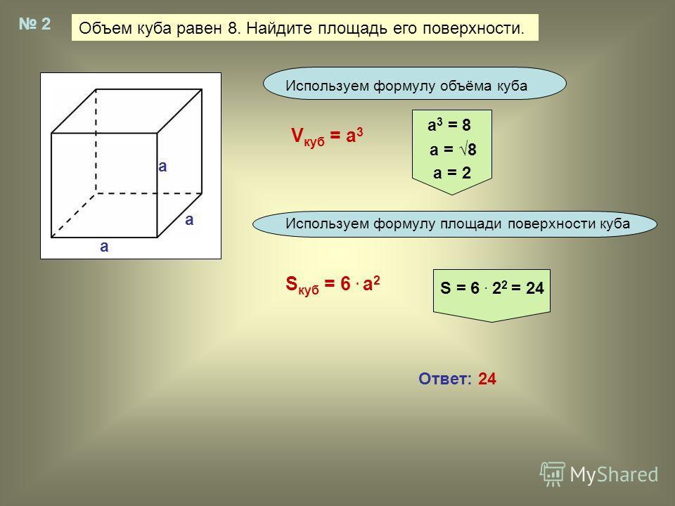 Объем куба равен 8. Найдите площадь его поверхности. 2 Используем формулу объёма куба Используем формулу площади поверхности куба V куб = а 3 а 3 = 8 а = 8 а = 2 S куб = 6. а 2 S = 6. 2 2 = 24 Ответ: 24 a a a