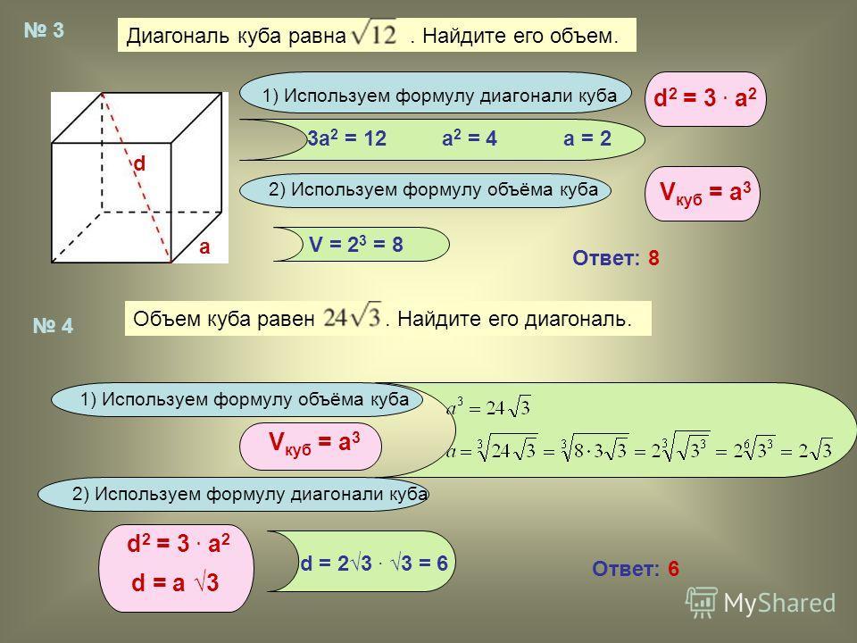 Диагональ куба равна. Найдите его объем. Объем куба равен. Найдите его диагональ. 3 4 d a 1) Используем формулу диагонали куба d 2 = 3. a 2 2) Используем формулу объёма куба V куб = а 3 3a 2 = 12a 2 = 4a = 2 V = 2 3 = 8 Ответ: 8 1) Используем формулу