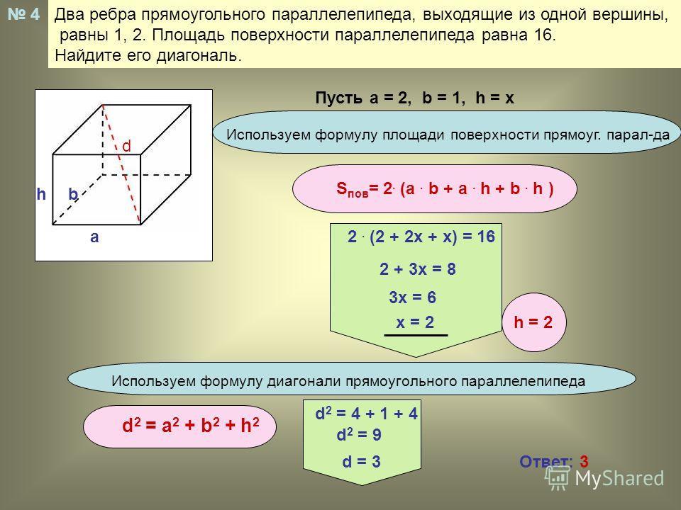 Два ребра прямоугольного параллелепипеда, выходящие из одной вершины, равны 1, 2. Площадь поверхности параллелепипеда равна 16. Найдите его диагональ. 4 d a bh Используем формулу площади поверхности прямоуг. парал-да S пов = 2. (a. b + a. h + b. h )