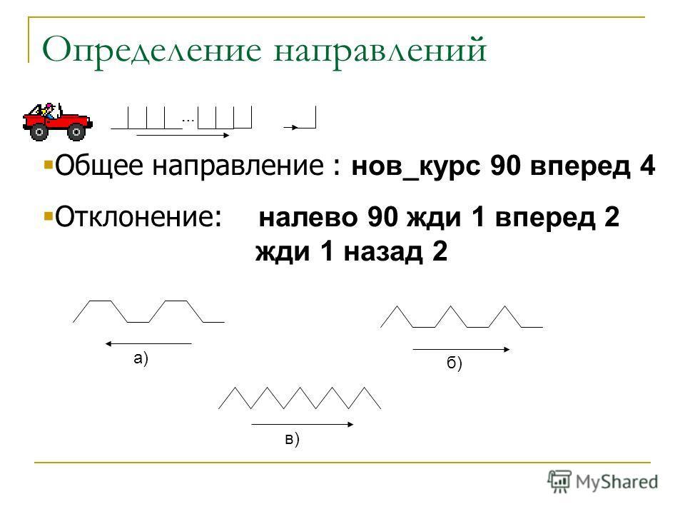 Определение направлений … Общее направление : нов_курс 90 вперед 4 Отклонение: налево 90 жди 1 вперед 2 жди 1 назад 2 а)б) в)