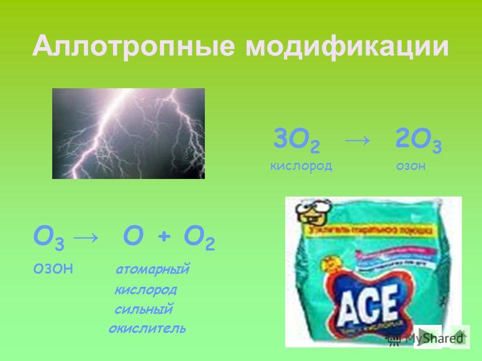 Аллотропные модификации 3О 2 2О 3 кислород озон О 3 О + О 2 озон атомарный кислород сильный окислитель