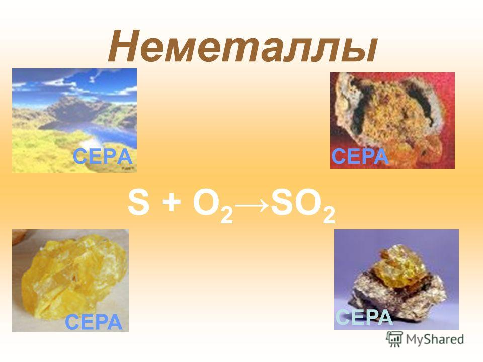 Неметаллы СЕРА S + O 2 SO 2 СЕРА
