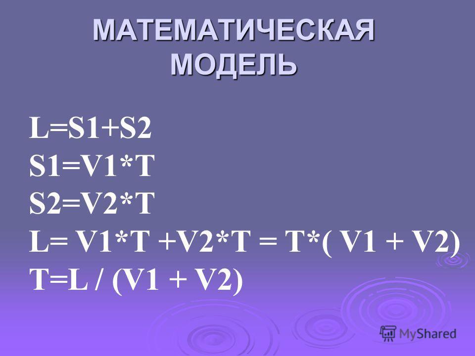 МАТЕМАТИЧЕСКАЯ МОДЕЛЬ L=S1+S2 S1=V1*T S2=V2*T L= V1*T +V2*T = T*( V1 + V2) T=L / (V1 + V2)