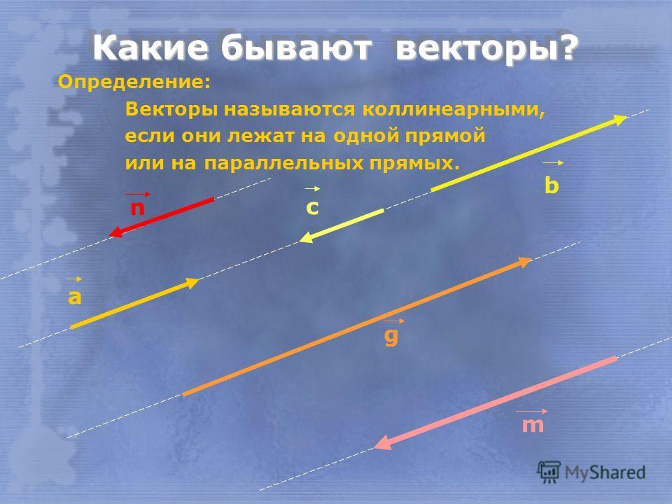 Определение: Векторы называются коллинеарными, если они лежат на одной прямой или на параллельных прямых. а b с g m n
