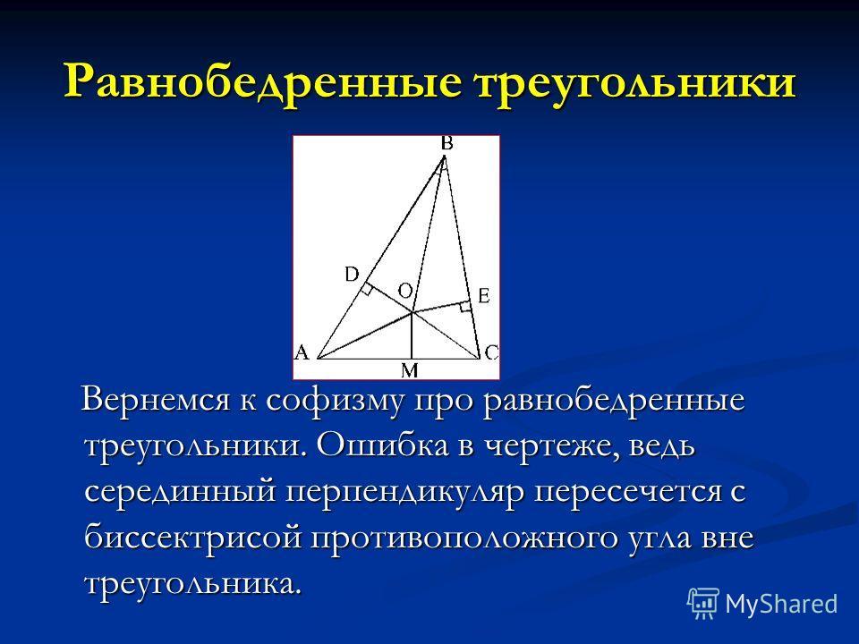 Равнобедренные треугольники Вернемся к софизму про равнобедренные треугольники. Ошибка в чертеже, ведь серединный перпендикуляр пересечется с биссектрисой противоположного угла вне треугольника. Вернемся к софизму про равнобедренные треугольники. Оши