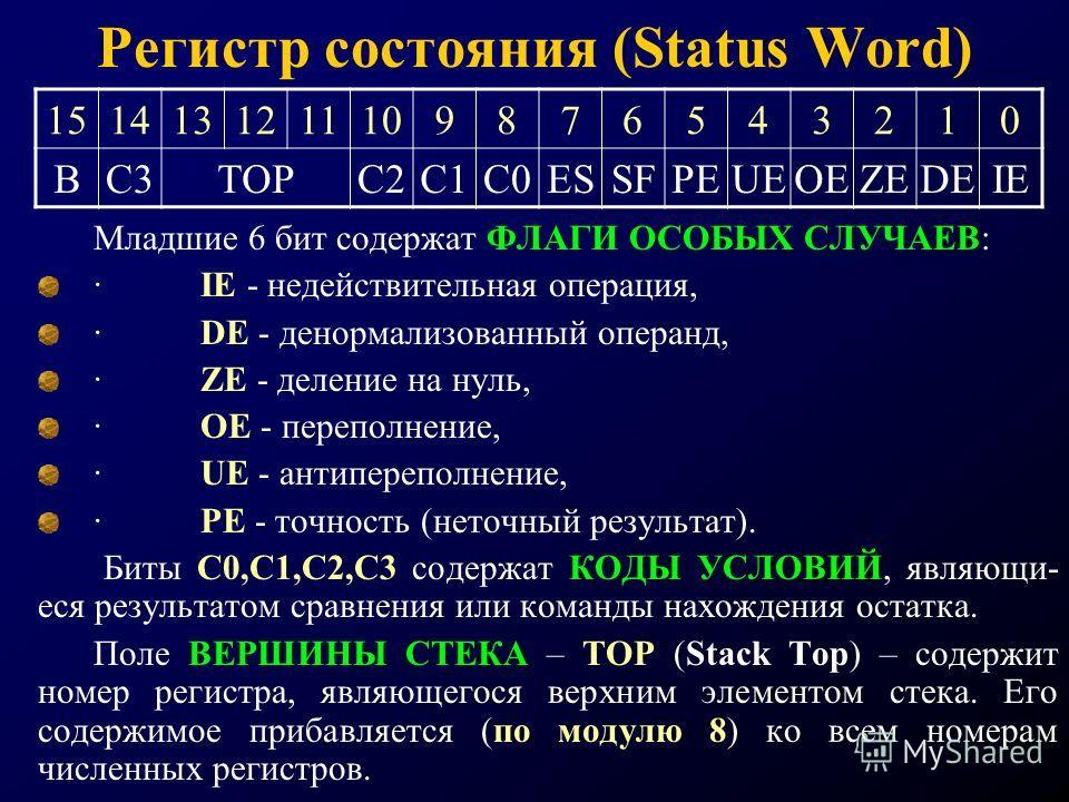 Регистр состояния (Status Word) Младшие 6 бит содержат ФЛАГИ ОСОБЫХ СЛУЧАЕВ: · IE - недействительная операция, · DE - денормализованный операнд, · ZE - деление на нуль, · OE - переполнение, · UE - антипереполнение, · PE - точность (неточный результат