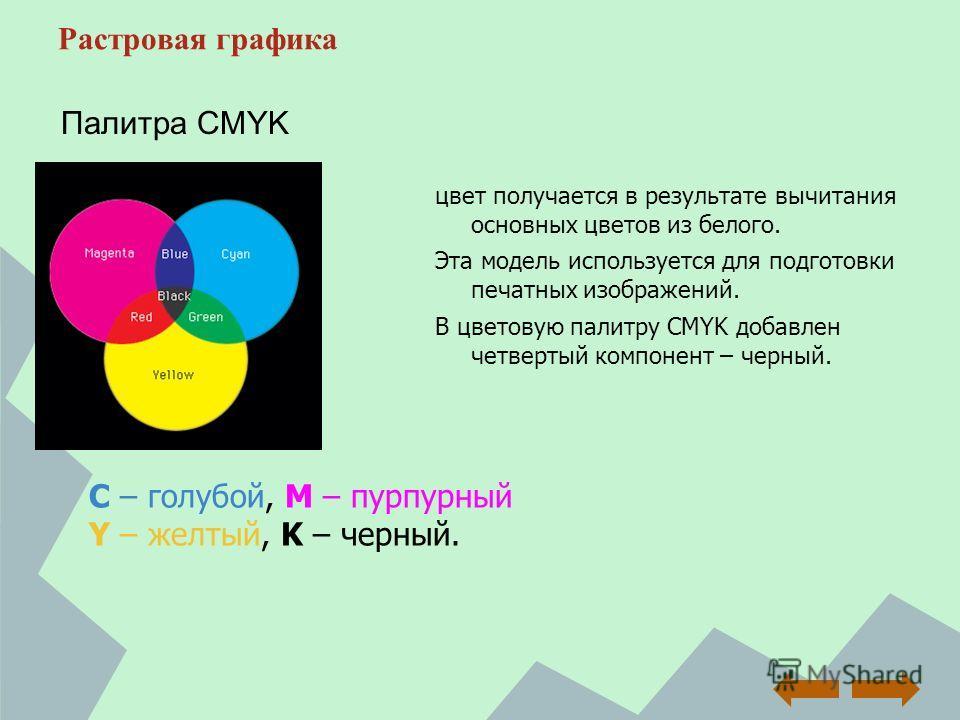 Растровая графика цвет получается в результате вычитания основных цветов из белого. Эта модель используется для подготовки печатных изображений. В цветовую палитру CMYK добавлен четвертый компонент – черный. Палитра CMYK C – голубой, M – пурпурный Y