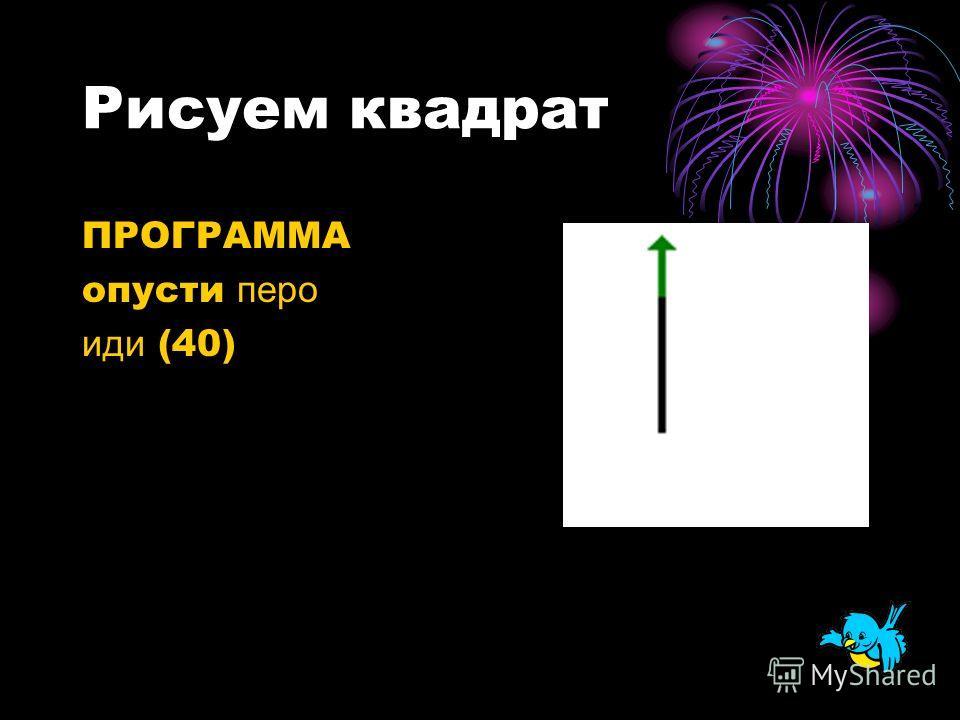 Рисуем квадрат ПРОГРАММА опусти перо иди (40)