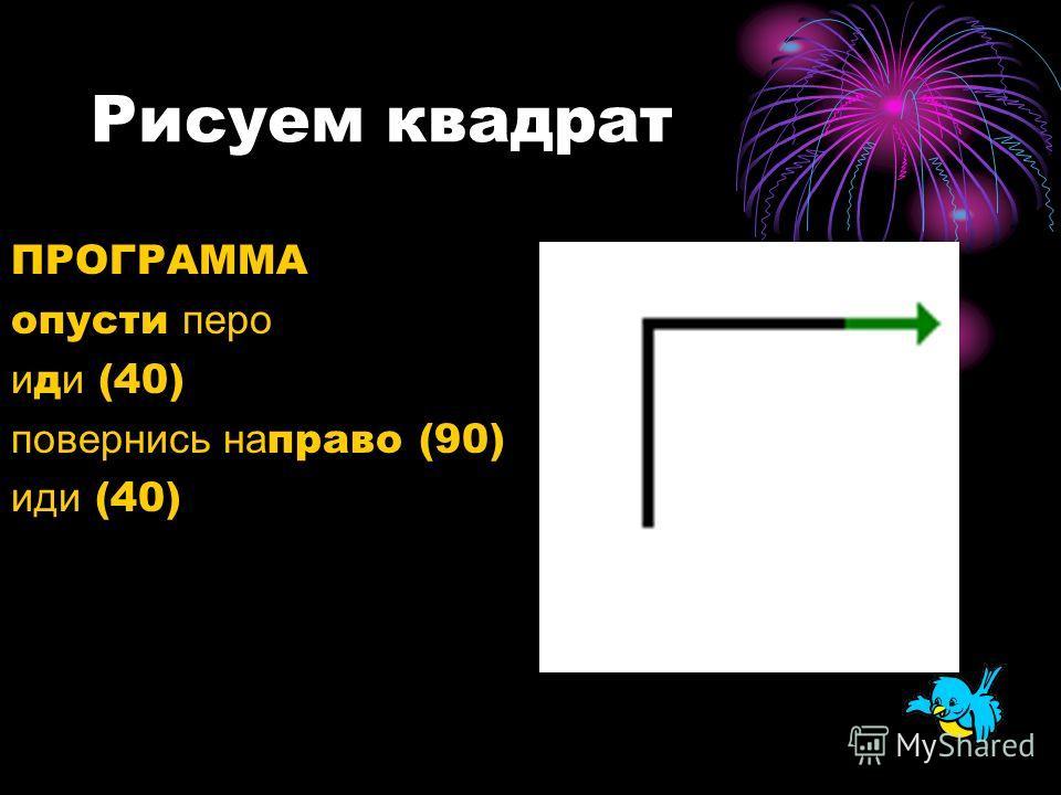 Рисуем квадрат ПРОГРАММА опусти перо и д и (40) повернись на право (90) иди (40)