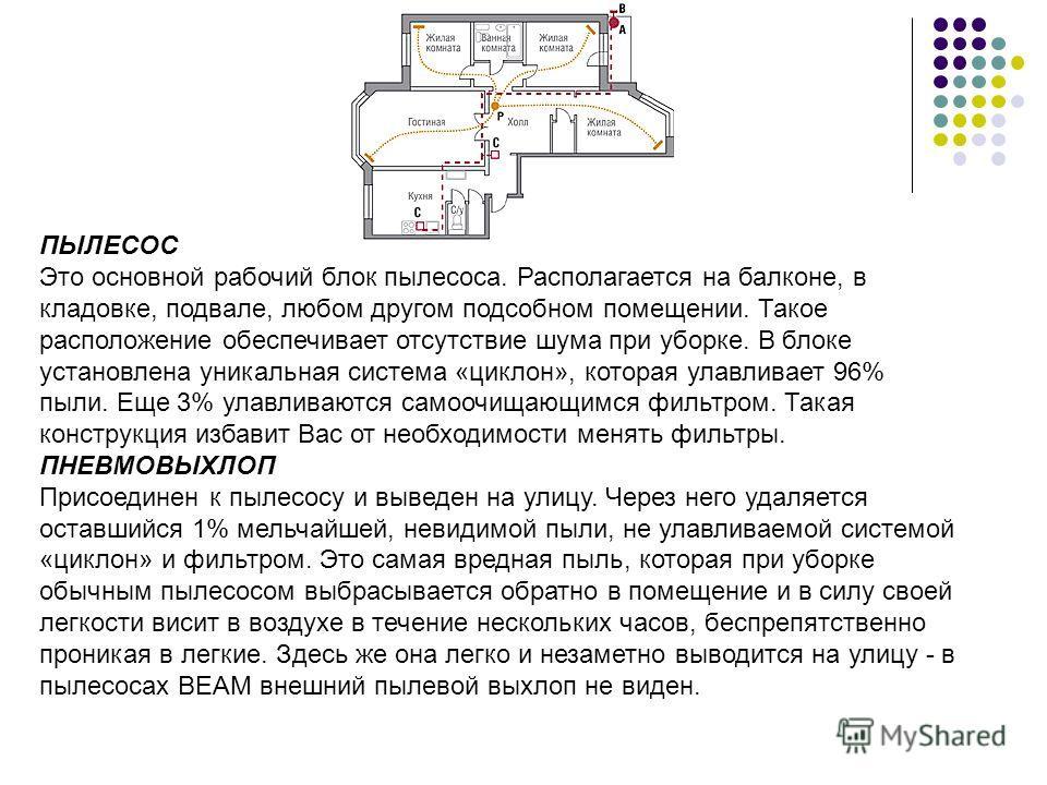 ПЫЛЕСОС Это основной рабочий блок пылесоса. Располагается на балконе, в кладовке, подвале, любом другом подсобном помещении. Такое расположение обеспечивает отсутствие шума при уборке. В блоке установлена уникальная система «циклон», которая улавлива