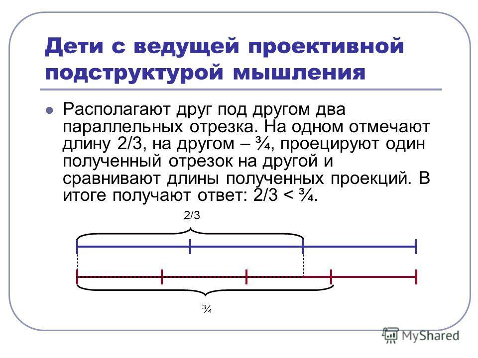 Дети с ведущей проективной подструктурой мышления Располагают друг под другом два параллельных отрезка. На одном отмечают длину 2/3, на другом – ¾, проецируют один полученный отрезок на другой и сравнивают длины полученных проекций. В итоге получают