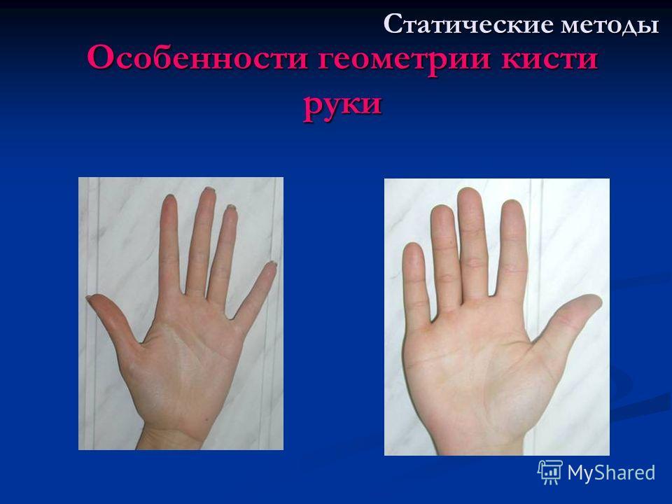 Особенности геометрии кисти руки Статические методы