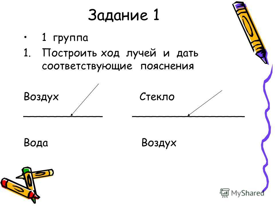 Задание 1 1 группа 1.Построить ход лучей и дать соответствующие пояснения Воздух Стекло ____________ _________________ Вода Воздух