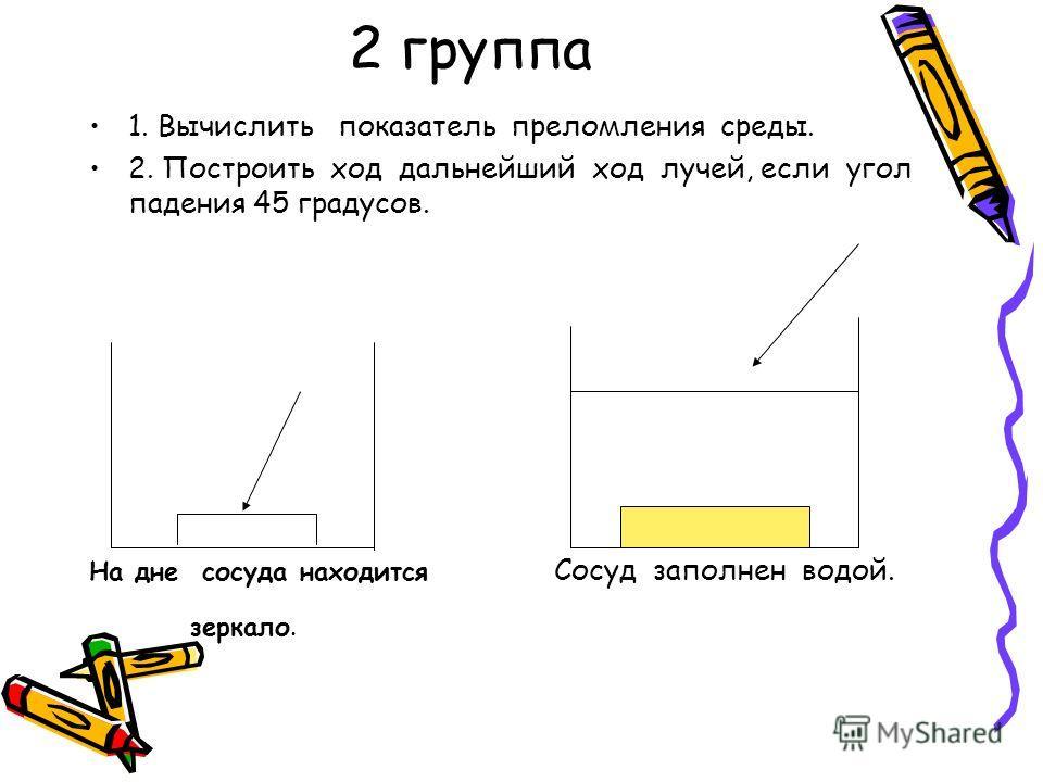 2 группа 1. Вычислить показатель преломления среды. 2. Построить ход дальнейший ход лучей, если угол падения 45 градусов. На дне сосуда находится Сосуд заполнен водой. зеркало.