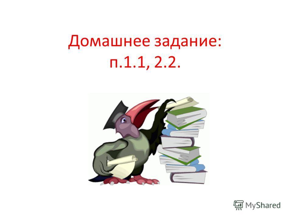 Домашнее задание: п.1.1, 2.2.