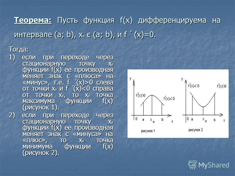 Теорема: Пусть функция f(x) дифференцируема на интервале (а; b), х 0 є (а; b), и f ( x)=0. Тогда: 1) если при переходе через стационарную точку х 0 функции f(x) ее производная меняет знак с «плюса» на «минус», т.е. f (x)>0 слева от точки х 0 и f (x)