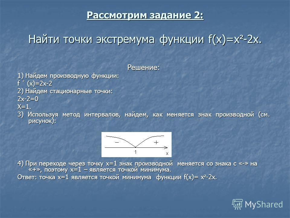 Рассмотрим задание 2: Найти точки экстремума функции f(x)=х ² -2x. Решение: 1) Найдем производную функции: f ´ (x)=2х-2 2) Найдем стационарные точки: 2х-2=0Х=1. 3) Используя метод интервалов, найдем, как меняется знак производной (см. рисунок): 4) Пр