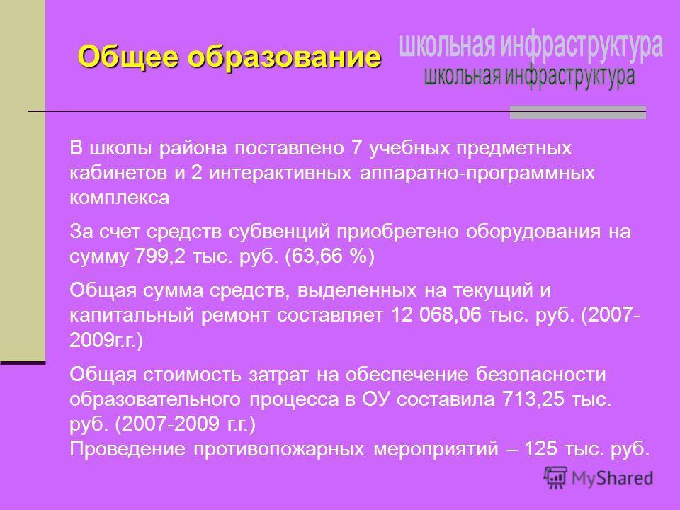 В школы района поставлено 7 учебных предметных кабинетов и 2 интерактивных аппаратно-программных комплекса За счет средств субвенций приобретено оборудования на сумму 799,2 тыс. руб. (63,66 %) Общая сумма средств, выделенных на текущий и капитальный