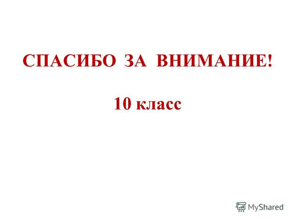СПАСИБО ЗА ВНИМАНИЕ! 10 класс