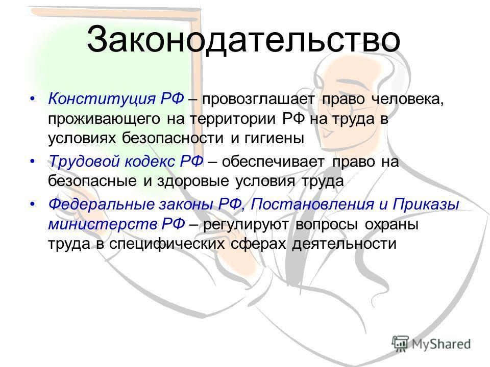 Законодательство Конституция РФ – провозглашает право человека, проживающего на территории РФ на труда в условиях безопасности и гигиены Трудовой кодекс РФ – обеспечивает право на безопасные и здоровые условия труда Федеральные законы РФ, Постановлен