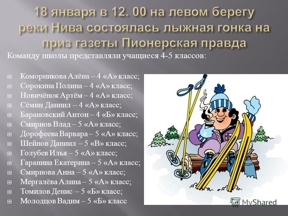 Команду школы представляли учащиеся 4-5 классов : Коморникова Алёна – 4 « А » класс ; Сорокина Полина – 4 « А » класс ; Новичёнок Артём – 4 « А » класс ; Сёмин Даниил – 4 « А » класс ; Барановский Антон – 4 « Б » класс ; Смирнов Влад – 5 « А » класс