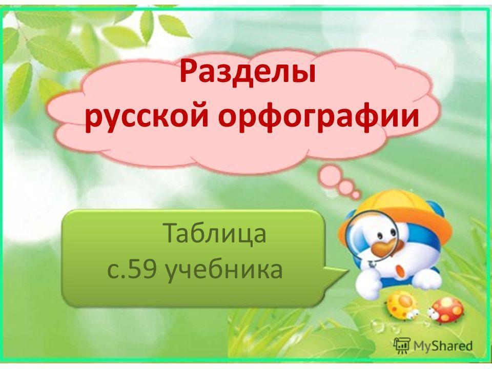 Разделы русской орфографии Таблица с.59 учебника