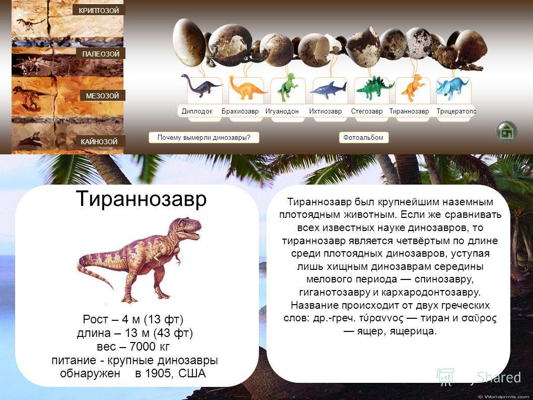 ДиплодокБрахиозавр ИгуанодонИхтиозаврСтегозаврТираннозаврТрицератопс Почему вымерли динозавры? КАЙНОЗОЙ МЕЗОЗОЙ ПАЛЕОЗОЙ КРИПТОЗОЙ Фотоальбом Тираннозавр Рост – 4 м (13 фт) длина – 13 м (43 фт) вес – 7000 кг питание - крупные динозавры обнаружен в 19