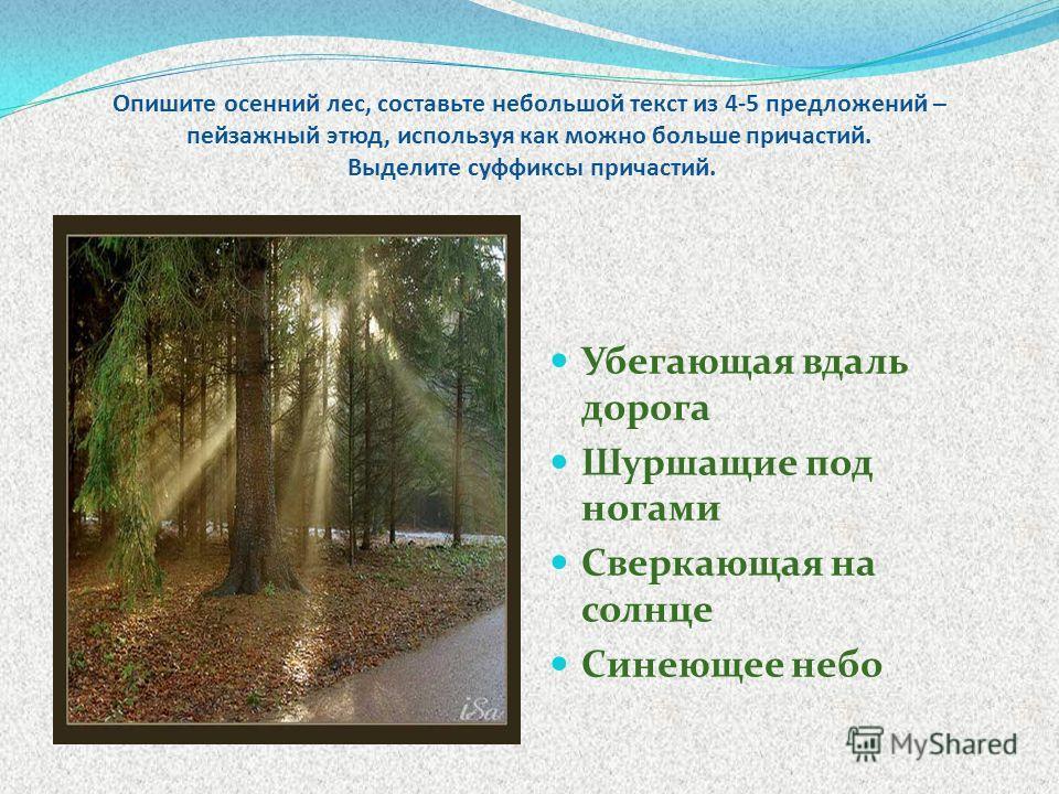 Опишите осенний лес, составьте небольшой текст из 4-5 предложений – пейзажный этюд, используя как можно больше причастий. Выделите суффиксы причастий. Убегающая вдаль дорога Шуршащие под ногами Сверкающая на солнце Синеющее небо