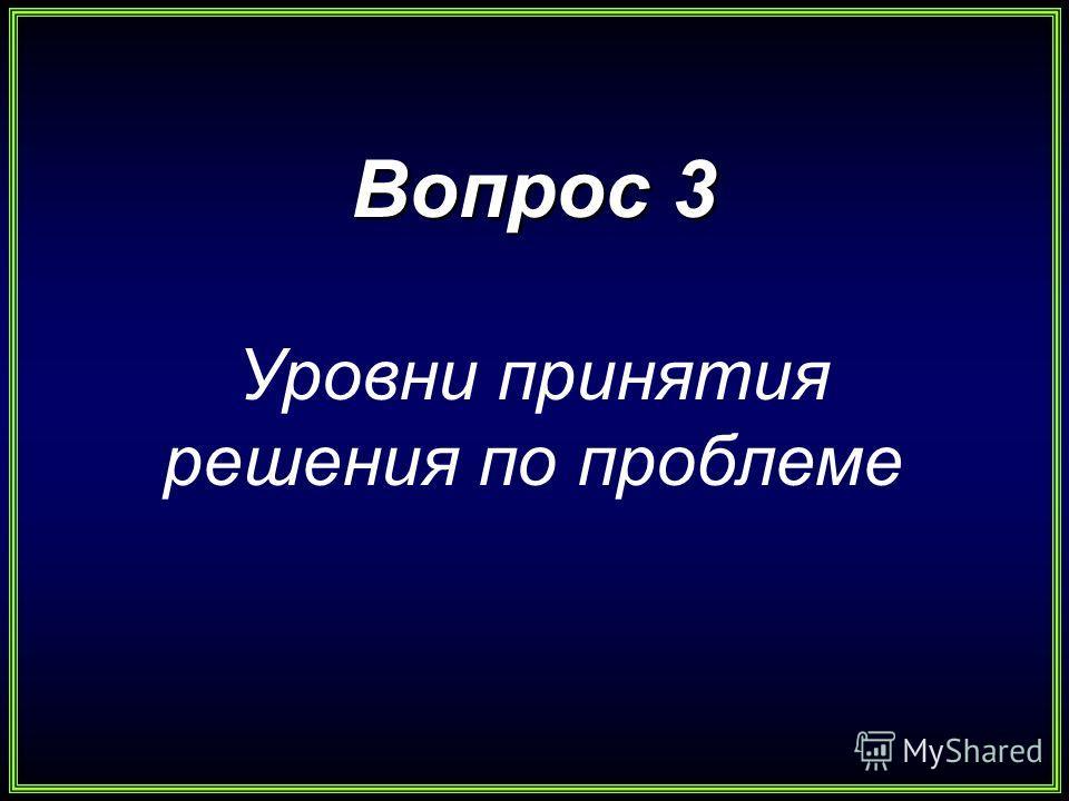 Вопрос 3 Уровни принятия решения по проблеме