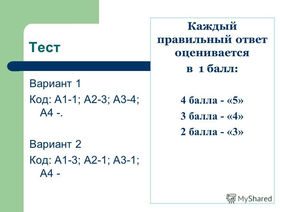 Тест Вариант 1 Код: А1-1; А2-3; А3-4; А4 -. Вариант 2 Код: А1-3; А2-1; А3-1; А4 - Каждый правильный ответ оценивается в 1 балл: 4 балла - «5» 3 балла - «4» 2 балла - «3»