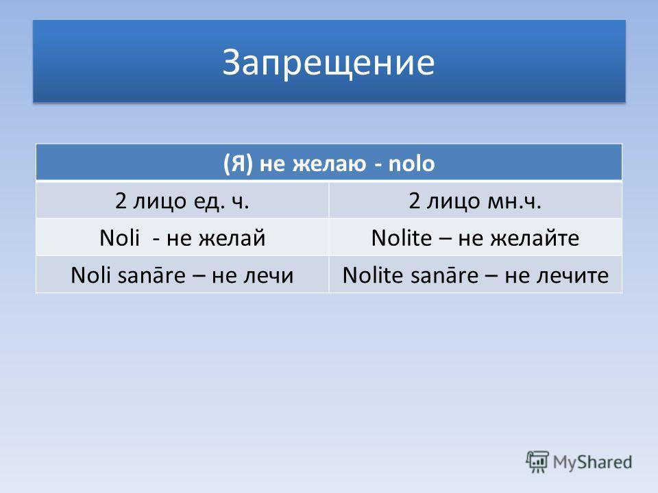 Запрещение (Я) не желаю - nolo 2 лицо ед. ч.2 лицо мн.ч. Noli - не желайNolite – не желайте Noli sanāre – не лечиNolite sanāre – не лечите