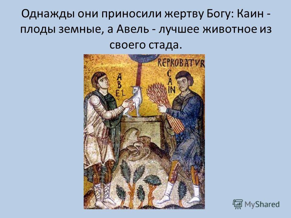 Однажды они приносили жертву Богу: Каин - плоды земные, а Авель - лучшее животное из своего стада.