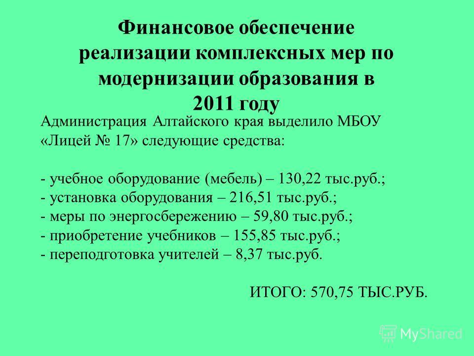 Администрация Алтайского края выделило МБОУ «Лицей 17» следующие средства: - учебное оборудование (мебель) – 130,22 тыс.руб.; - установка оборудования – 216,51 тыс.руб.; - меры по энергосбережению – 59,80 тыс.руб.; - приобретение учебников – 155,85 т