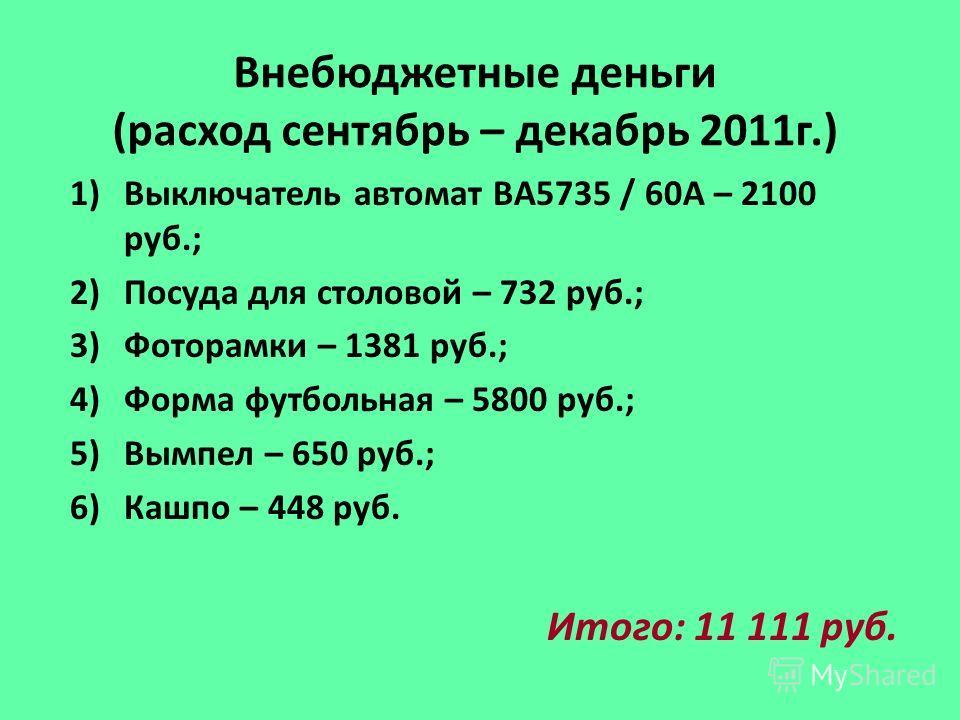 Внебюджетные деньги (расход сентябрь – декабрь 2011г.) 1)Выключатель автомат ВА5735 / 60А – 2100 руб.; 2)Посуда для столовой – 732 руб.; 3)Фоторамки – 1381 руб.; 4)Форма футбольная – 5800 руб.; 5)Вымпел – 650 руб.; 6)Кашпо – 448 руб. Итого: 11 111 ру