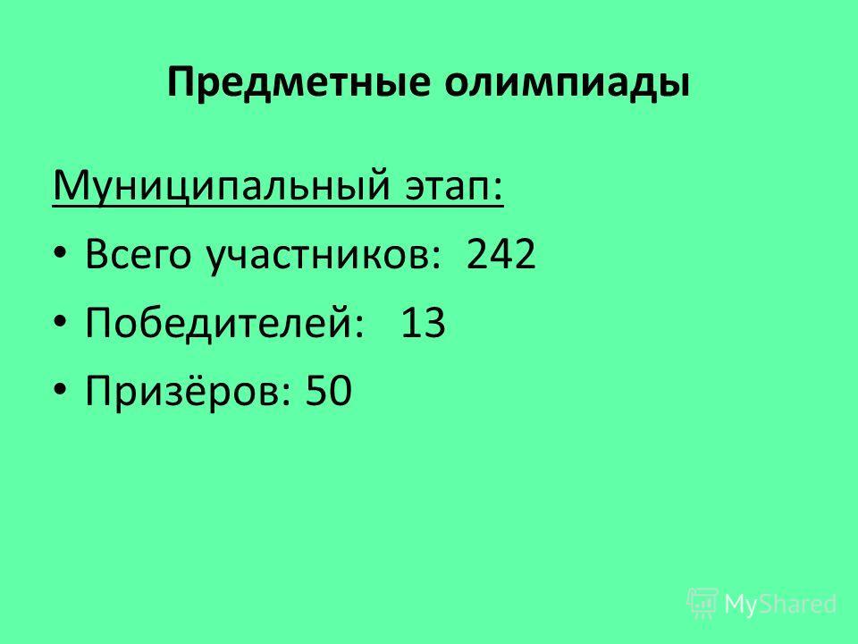 Предметные олимпиады Муниципальный этап: Всего участников: 242 Победителей: 13 Призёров: 50