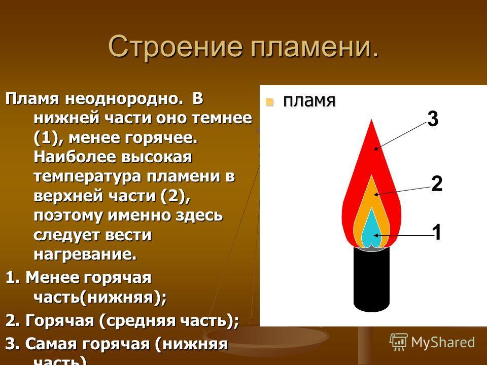 Строение пламени. Пламя неоднородно. В нижней части оно темнее (1), менее горячее. Наиболее высокая температура пламени в верхней части (2), поэтому именно здесь следует вести нагревание. 1. Менее горячая часть(нижняя); 2. Горячая (средняя часть); 3.