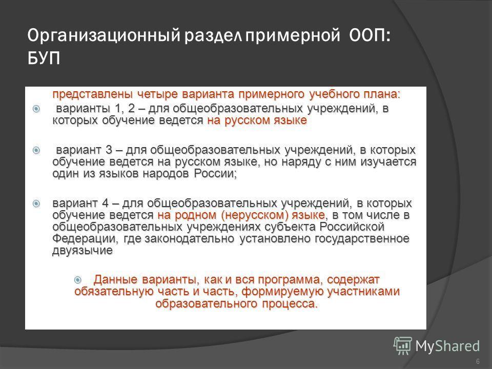 Организационный раздел примерной ООП: БУП представлены четыре варианта примерного учебного плана: варианты 1, 2 – для общеобразовательных учреждений, в которых обучение ведется на русском языке варианты 1, 2 – для общеобразовательных учреждений, в ко