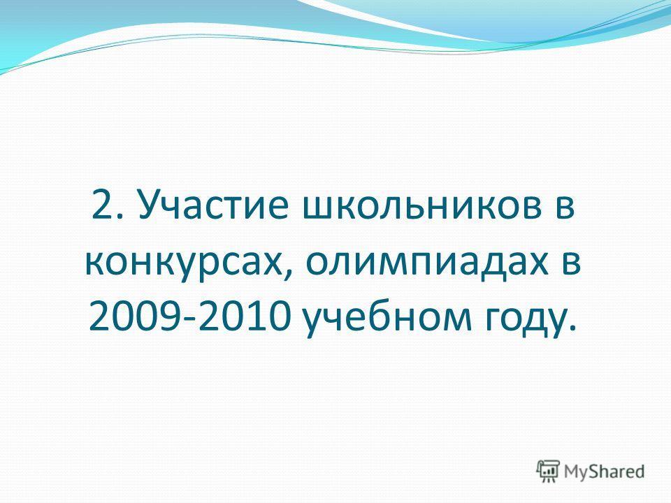 2. Участие школьников в конкурсах, олимпиадах в 2009-2010 учебном году.
